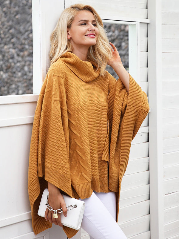 Knitted Turtleneck  Pullover Capes Sweaters