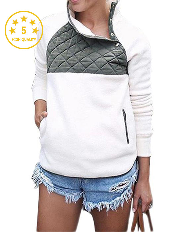 [Quality] Long Sleeve Asymmetrical Snap Neck Fleece Pullover Outwear