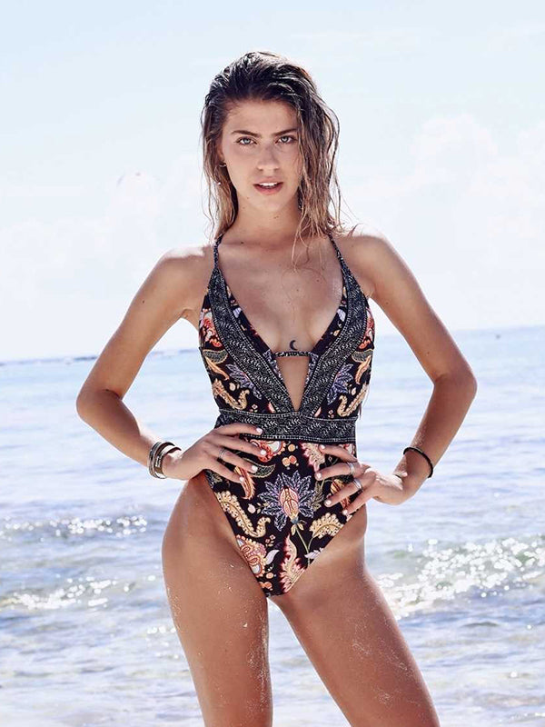 Sexy Deep V Striped Cross Print One Piece Swimsuit
