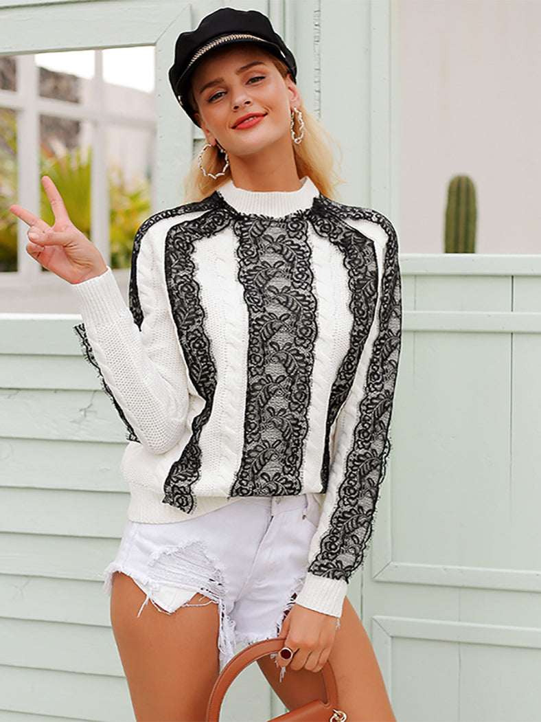 Elegant Lace Stitching Long Sleeve Knitted Sweater - BelleChloe
