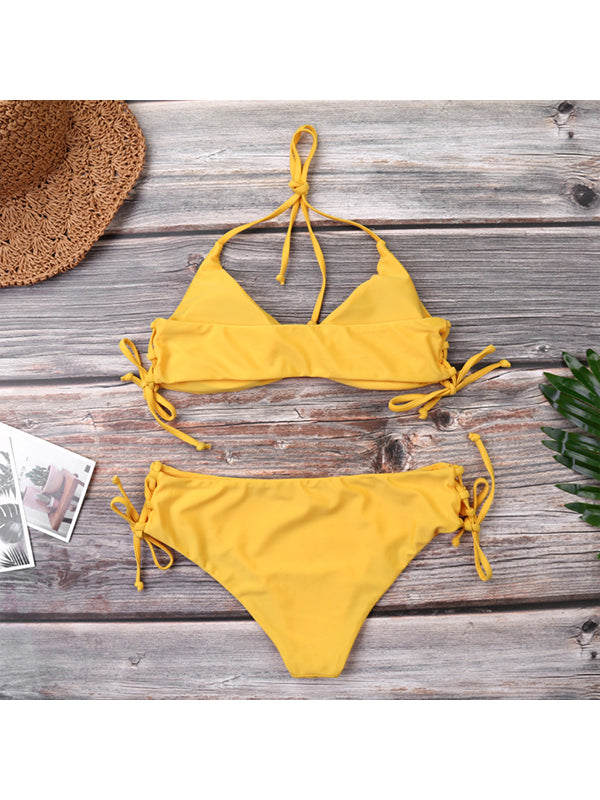 Solid Color Hanging Neck Sexy Low Waist Bikini