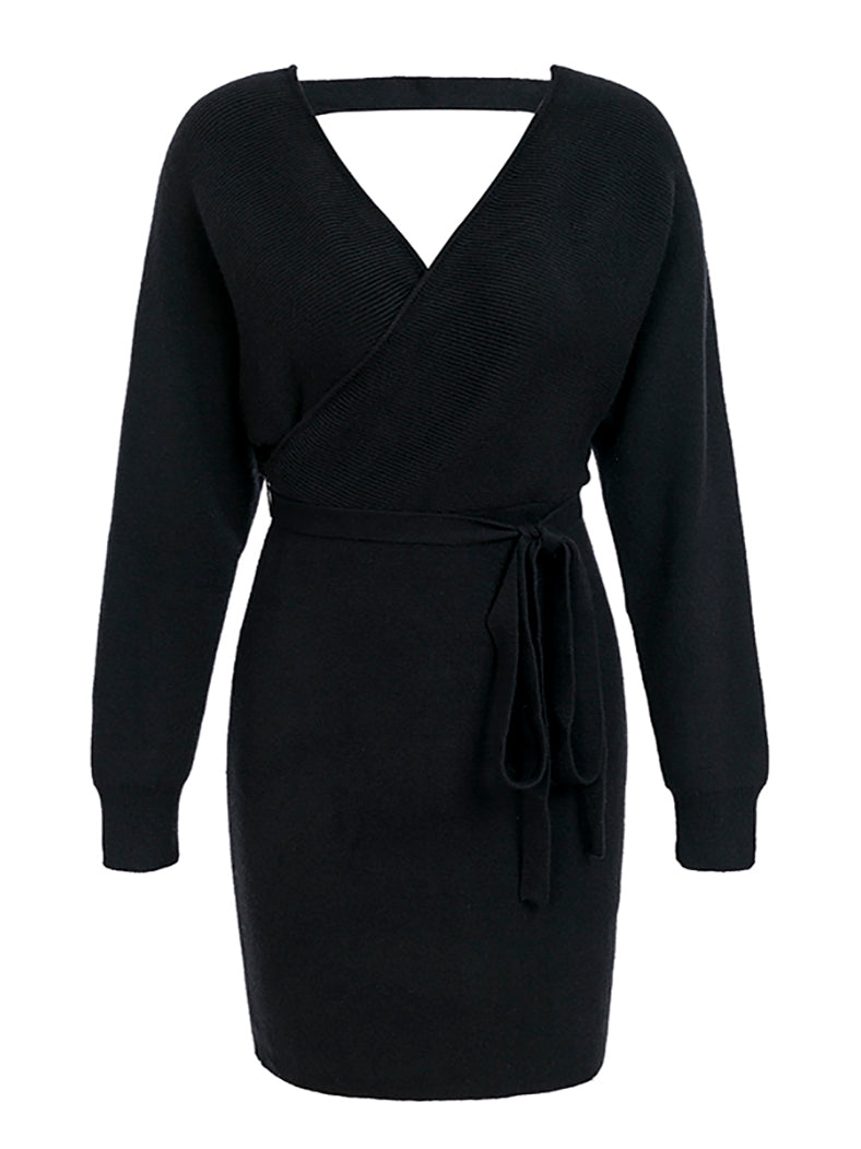 V Neck Knitted Warp Dress Vintage Long Sleeve Dresses Hollow Out Sexy Dress-Dresses-BelleChloe