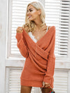 Elegant Cold Shoulder Knitted Long Sleeve Sweater