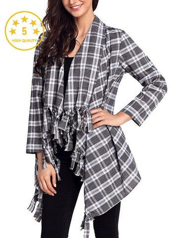【Quality】Irregular Geometric Printed Knitted Long Sleeves Cascading Draped Front Open Cardigan