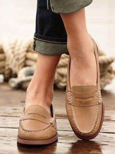 Women Comfortable Smooth Cow Leather Flat Casual Shoes