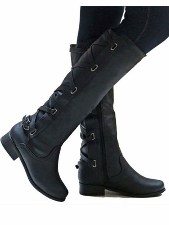 Women's Riding Boot Winter Knee High Lace Up Faux Leather Criss Cross Strap Buckle Shoes
