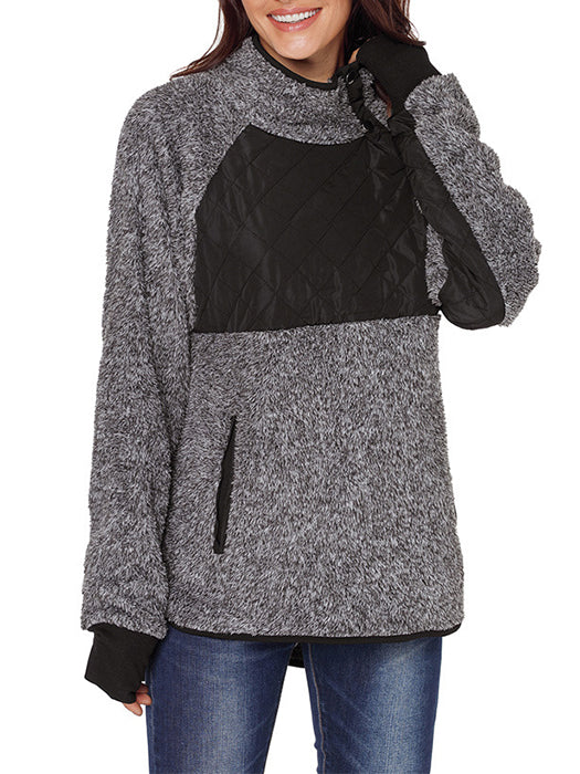 Long Sleeve Asymmetrical Snap Neck Fleece Pullover Outwear-Coats-BelleChloe