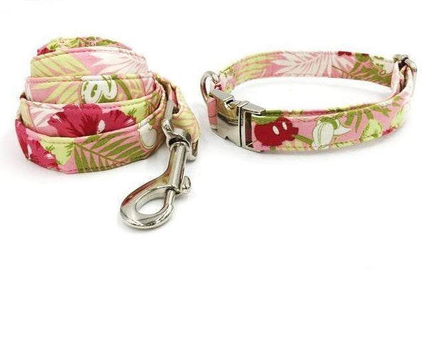 Fresh Spring Garden Print Fashion Bow Tie Collar & Leash