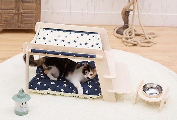 Luxury Wood Pet Tent Bed  with Cushion