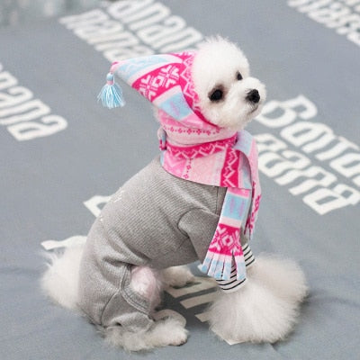 Luxury Pink Knitted Pet Dog Hat With Scarf
