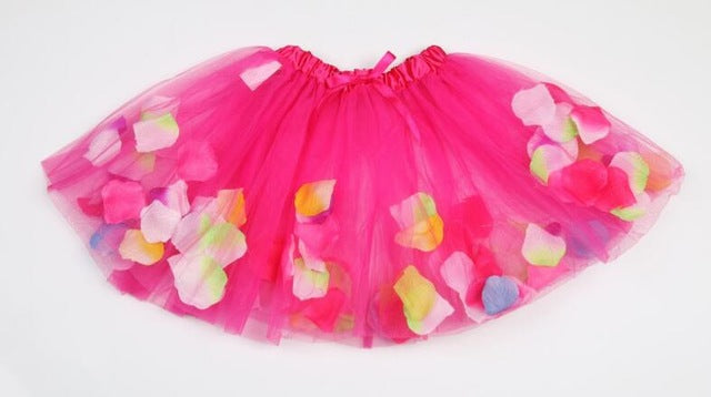Tutu Skirt With Rose Petals (Multiple Colors)