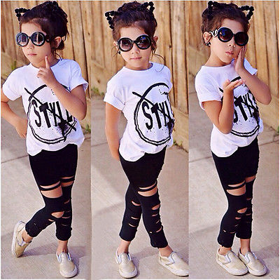 Girl Short Sleeve Print T-Shirt + Ripped Leggings