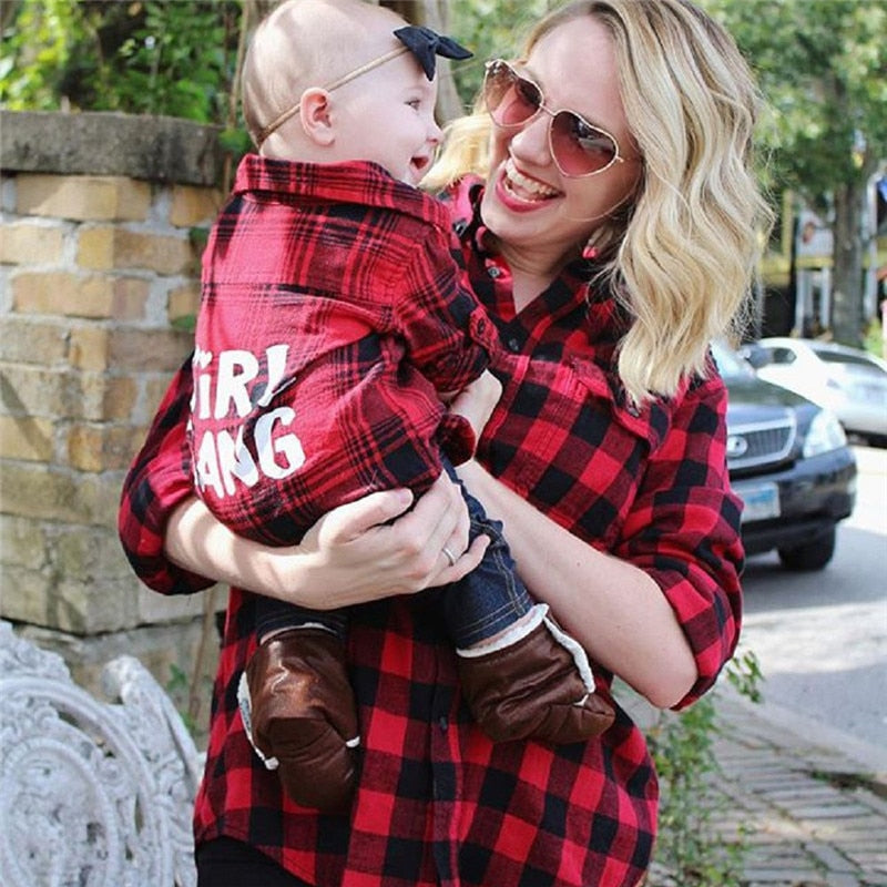 Girl Gang Matching Plaid Shirts