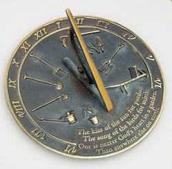 "Solid Brass Kiss Of The Sun Sundial 10"" Dia. (#2307) - Garden Sundials"