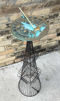 French Topiary Sundial Pedestal Large  - One Of A Kind (#B94L) - Garden Sundials - 1
