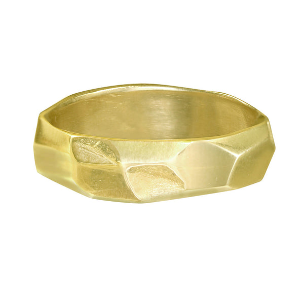 Plain gold textured wedding band for men and women.
