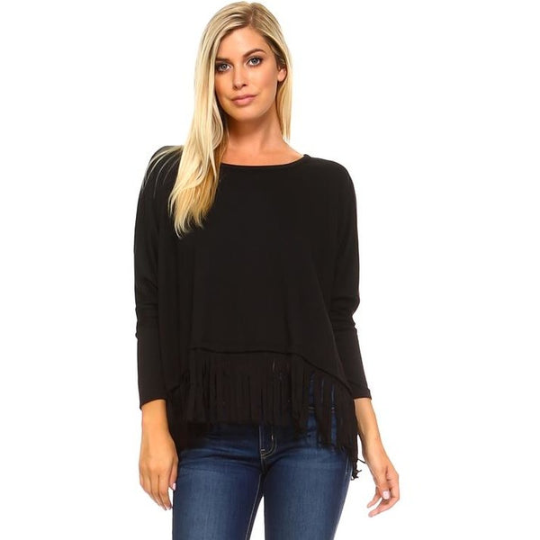 Long Sleeve Fringe Top