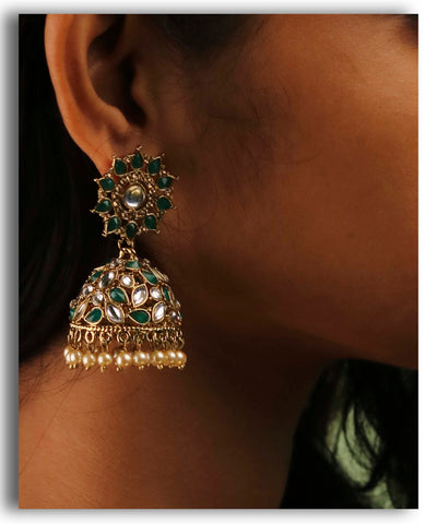 Green Motif Leaves Jhumka