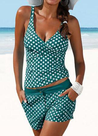 Padded Polka Dot High Waist Tankini - fashionyanclothes