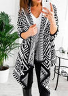Retro Geometry Print Cardigan - esshe