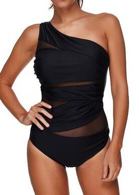 Black  Mesh One Shoulder Swimwear - fashionyanclothes