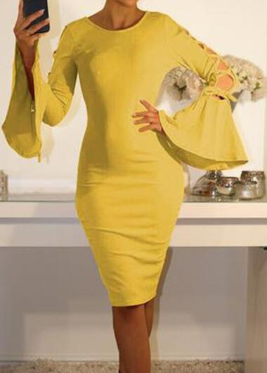 Sexy Solid Color Bandage Horn Sleeve  Dress