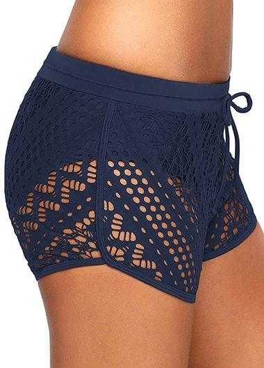 Drawstring Waist Lace Panel Black Swimwear Shorts - fashionyanclothes