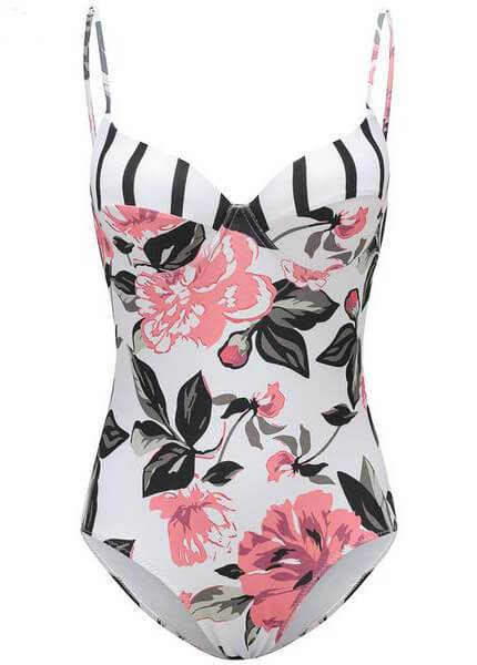 Floral Printed Strap One Piece - fashionyanclothes