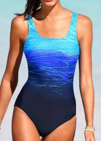 Blue Criss Cross Back Monokini - fashionyanclothes