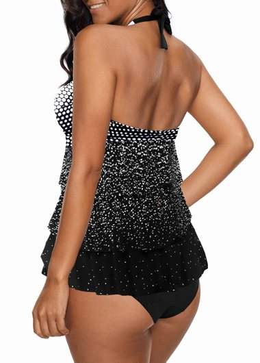 Halter Purple Layered Dot Print Tankini Set - fashionyanclothes