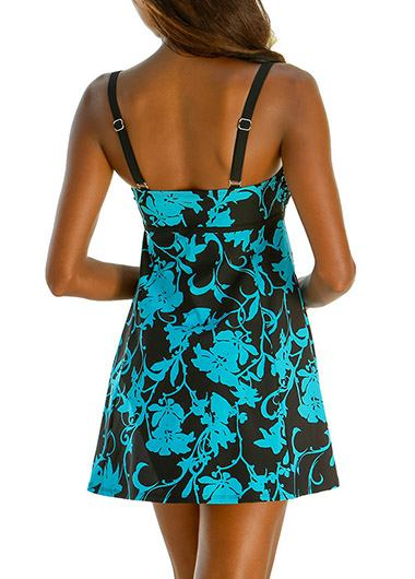 Printed Blue Open Back Swimdress and Panty