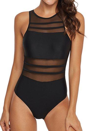 Black Scoop Back Mesh Panel Swimwear - fashionyanclothes