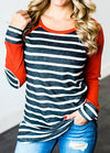 Striped Print Elbow Patch T Shirt