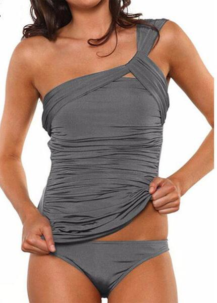 One Shoulder Off Ruched SwimSuit - fashionyanclothes