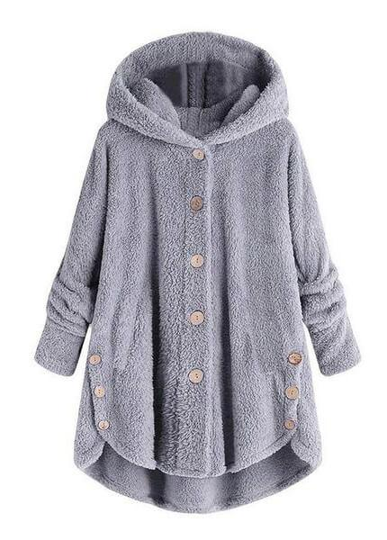 Hooded Collar Plus Size Button Up Coat - fashionyanclothes