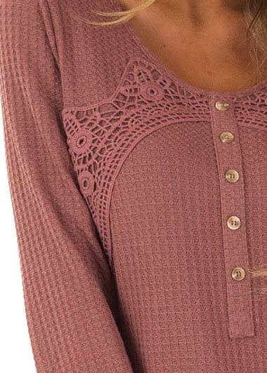Red Wood Waffle Knit Top with Lace Detail