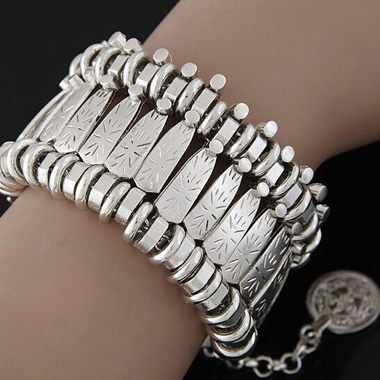 Coin Pendant Silver Metal Wide Cuff Bracelet - fashionyanclothes
