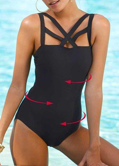 Black Lace Up One Piece Swimwear - fashionyanclothes