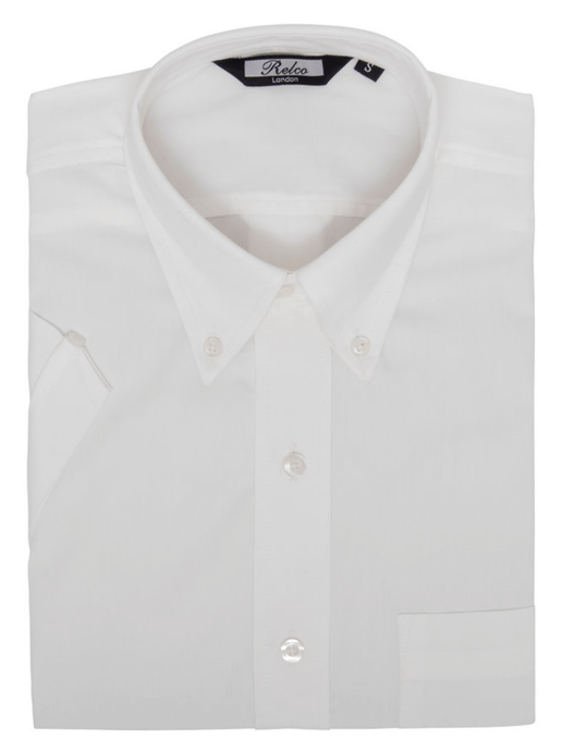White Classic Oxford Weave Short Sleeve Shirt - GIAN LONDON
