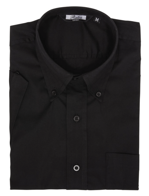 Black Classic Oxford Weave Short Sleeve Shirt - GIAN LONDON