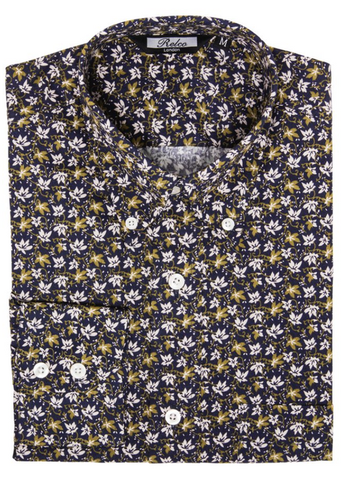 Navy & Olive Floral Pattern Long Sleeve Shirt - GIAN LONDON