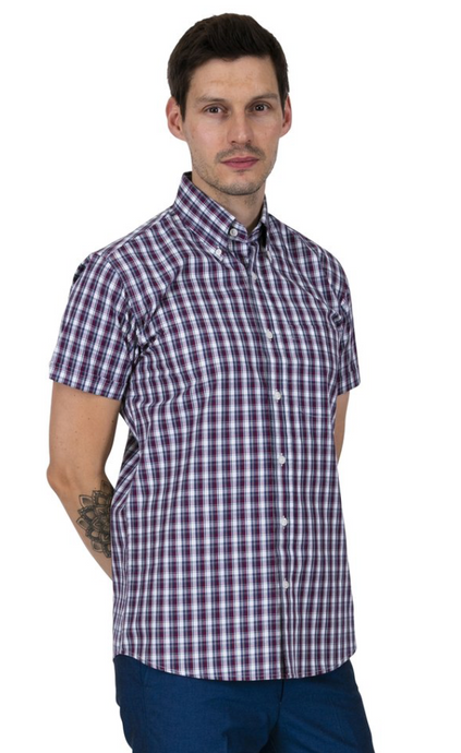 Burgundy White & Navy Check Short Sleeve Shirt - GIAN LONDON