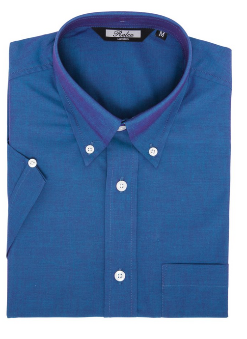 Blue Two Tone Tonic Short Sleeve Shirt - GIAN LONDON