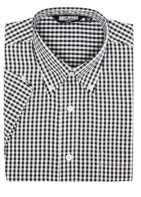 Black Gingham Check Short Sleeve Shirt - GIAN LONDON