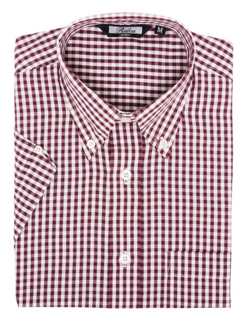 Burgundy Gingham Check Short Sleeve Shirt - GIAN LONDON