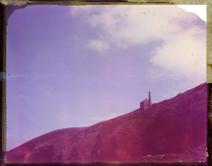 Polaroid of Wheal Coates mine in Cornwall