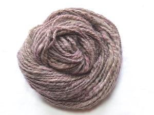 Geode – Hand-spun Wool, Mohair and Flax Yarn in Grey and Purple (90g)