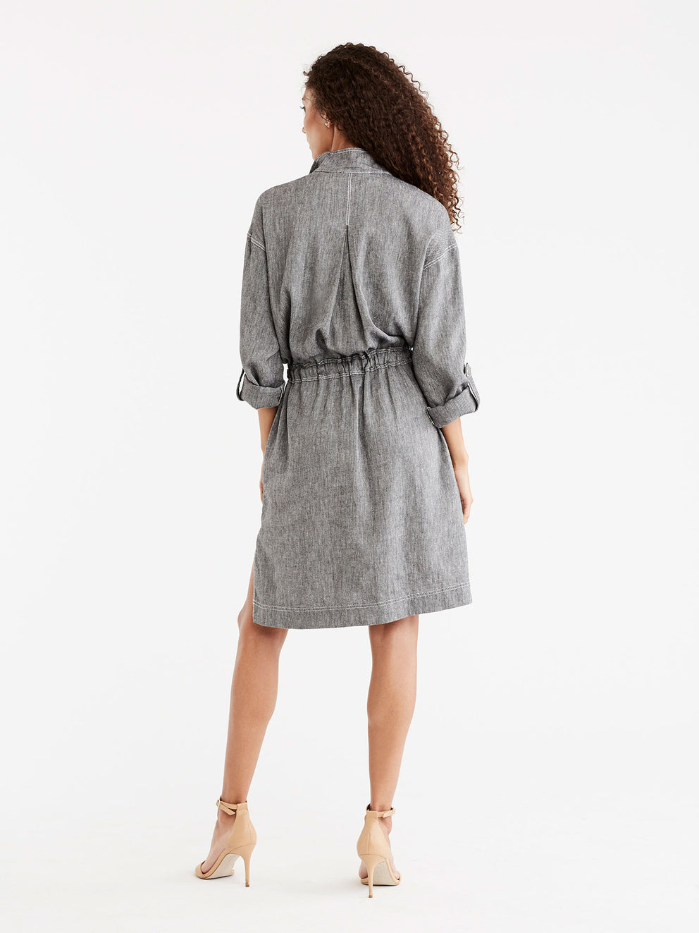 Pop-Collar Shirtdress Color Black