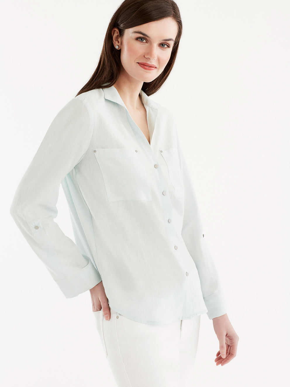 Stand Collar Shirt Color Peppermint