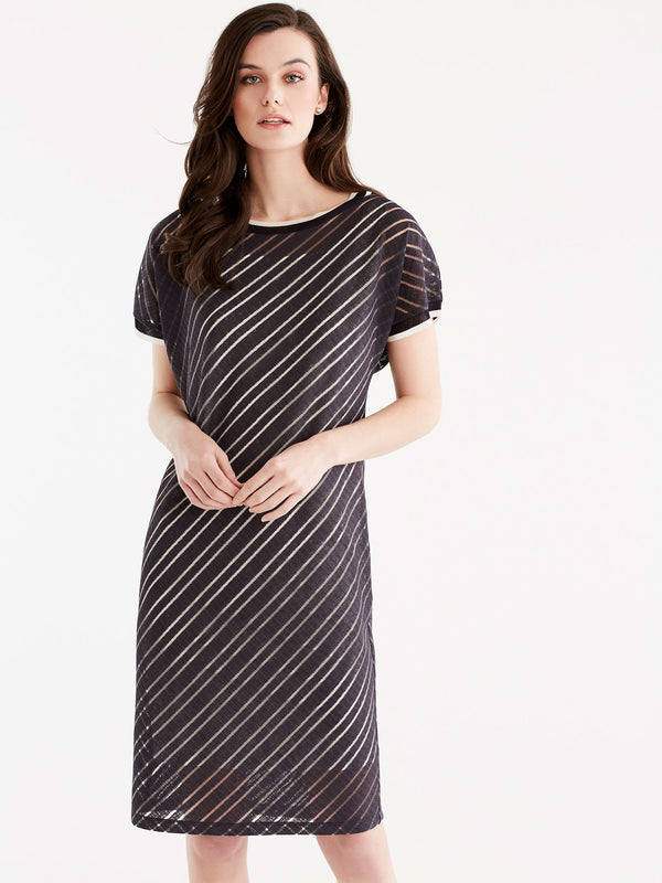 Sheer Stripe T-Shirt Dress